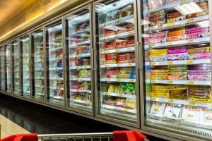 commercial refrigerators merchandisers in a grocery store